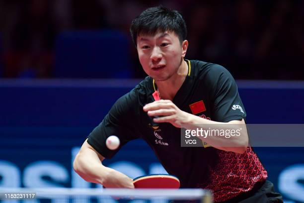 Ma Long of China competes in the Men's Singles final match against Lin Gaoyuan of China on day six of the Seamaster 2019 ITTF World Tour Platinum...