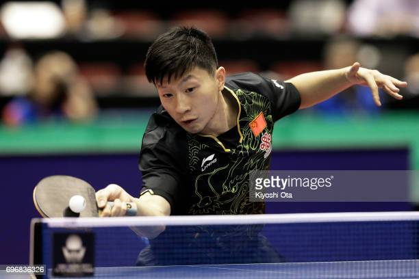 Ma Long of China competes in the Men's Singles quarter final match against Koki Niwa of Japan during day four of the 2017 ITTF World Tour Platinum...