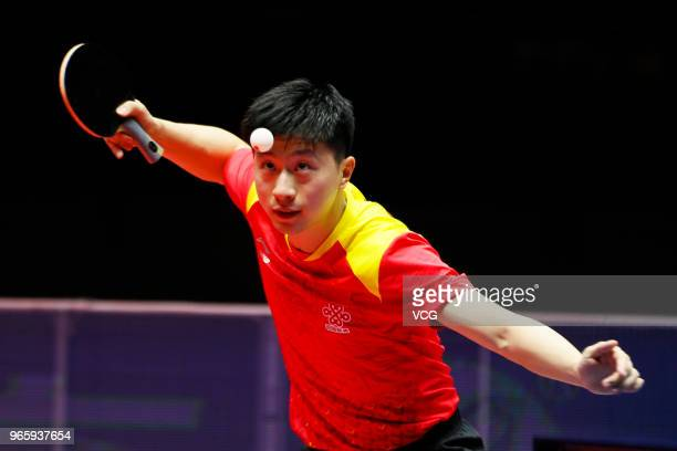 Ma Long of China competes in the Men's Singles quarterfinal match against Liang Jingkun of China during day three of the 2018 ITTF World Tour China...