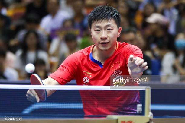 Ma Long of China competes in the Men's Singles Round of 16 match against Niwa Koki of Japan during day four of the Seamaster 2019 ITTF World Tour...