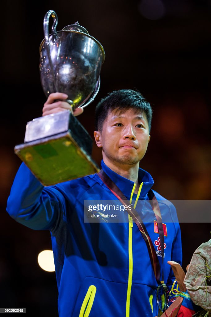 Ma Long of China holds the trophy after winning the Men's Singles Final match of the Table Tennis World Championship at Messe Duesseldorf on June 5, 2017 in Dusseldorf, Germany.