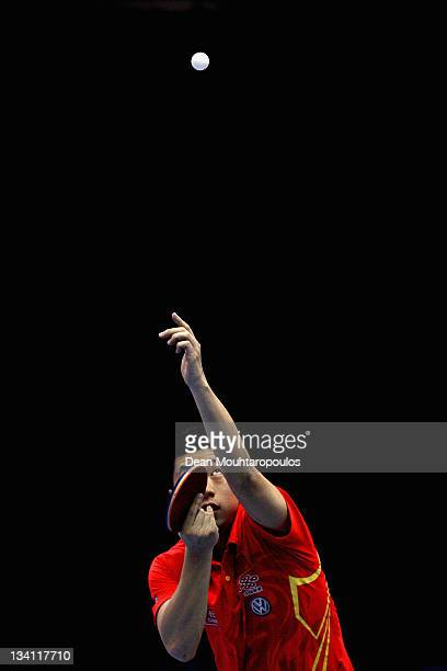 Ma Long of China in action against ChihYuan Chuang of Chinese Taipei during the Mens Singles Quarter Finals match during day three of the ITTF Pro...