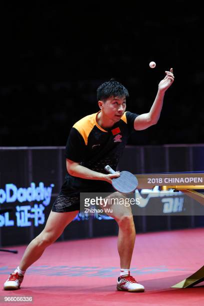Ma Long of China in action at the men's singles semifinal compete with Lim Jonghoon of South Korea during the 2018 ITTF World Tour China Open on June...