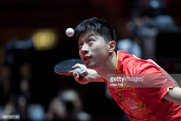 Ma Long of China in action during Men's Singles Final at Table Tennis World Championship at Messe Duesseldorf on June 5 2017 in Dusseldorf Germany