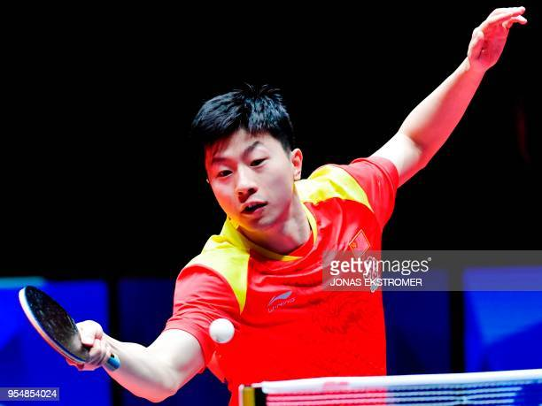 Ma Long of China plays against Mattias Karlsson of Sweden during the men's semifinal at the World Team Table Tennis Championships in Halmstad Sweden...