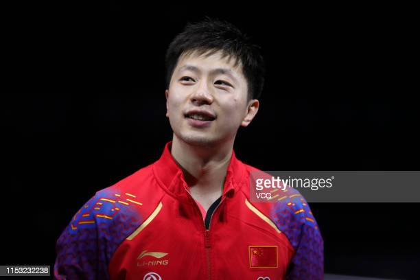 Ma Long of China reacts after winning the Men's Singles final match against Lin Gaoyuan of China on day six of the Seamaster 2019 ITTF World Tour...