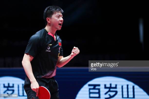 Ma Long of China reacts in the Men's Singles semi final match against Tomokazu Harimoto of Japan on day six of the Seamaster 2019 ITTF World Tour...