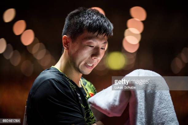 Ma Long of China takes a break during the Men's Singles Semi Final match of the Table Tennis World Championship at Messe Duesseldorf on June 5 2017...