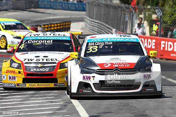 Ma Qing Hua in Citro��n CElys��e WTCC of Citro��n Total WTCC and Tom Coronel in Chevrolet RML Cruze TC1 of ROAL Motorsport during the FIA WTCC 2015...