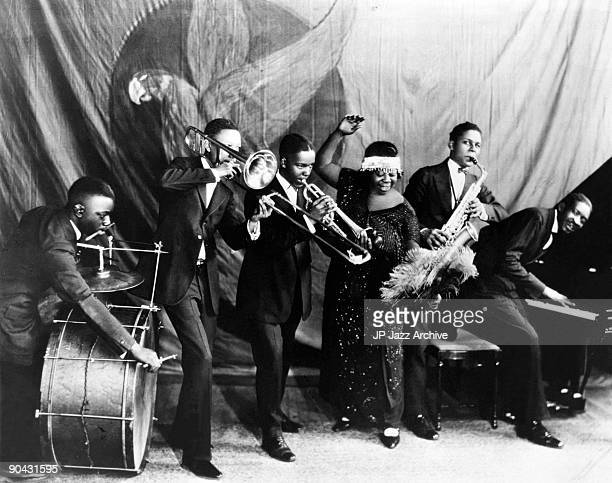 Ma Rainey Georgia Jazz Band pose for a studio group shot c 192425 with 'Gabriel' Albert Wynn Dave Nelson Ma Rainey Ed Pollack and Thomas A Dorsey
