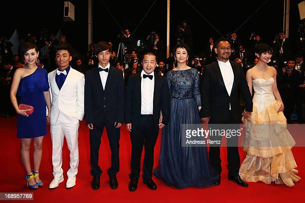 Ma Rong actors Baoqiang Wang and Lanshan Luo director Jia Zhangke actress Tao Zhao actor Jiang Wu and actress Meng Li attend the Premiere of 'Tian...