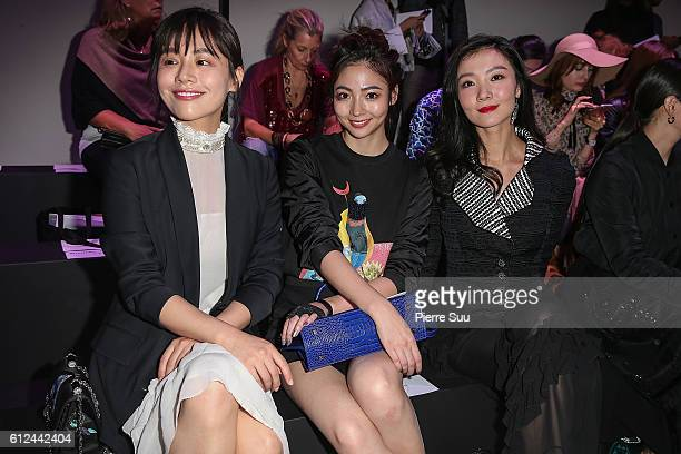 Ma Sichun a guest and Aggie Hsieh attend the Shiatzy Chen show as part of the Paris Fashion Week Womenswear Spring/Summer 2017 on October 4 2016 in...