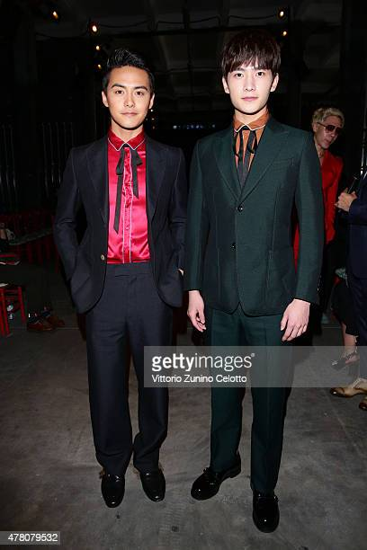 Ma Tian Yu and Yang Yang attends the Gucci fashion show during the Milan Men's Fashion Week Spring/Summer 2016 on June 22 2015 in Milan Italy