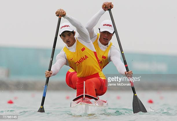 Ma Xiaojie and Huang Shaokun of China in action in the Men's Canoe Double 1000m at West Bay Lagoon during the 15th Asian Games December 11 2006 in...