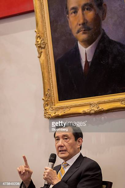 Ma Ying-jeou, Taiwan's president, speaks in front of a portrait of revolutionary Sun Yat-set during a news conference at the presidential palace in...