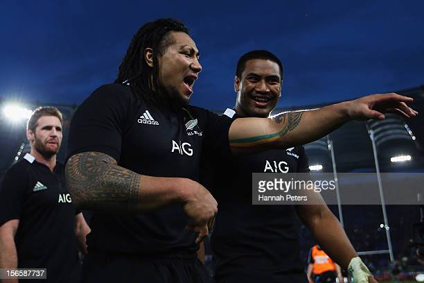 Ma'a Nonu celebrates with Julian Savea of the All Blacks after the international rugby match between Italy and New Zealand at Stadio Olimpico on...