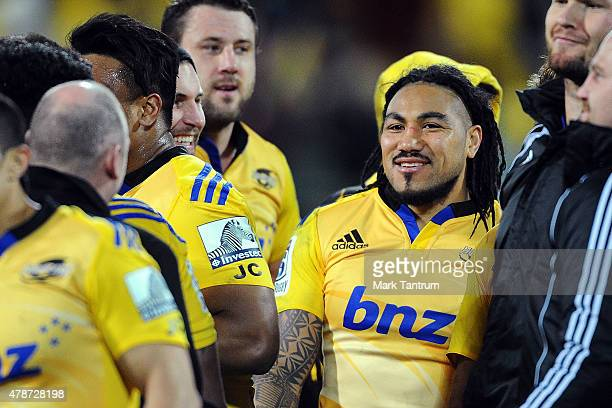 Ma'a Nonu celebrates with the Hurricanes after winning the Super Rugby Semi Final match between the Hurricanes and the Brumbies at Westpac Stadium on...