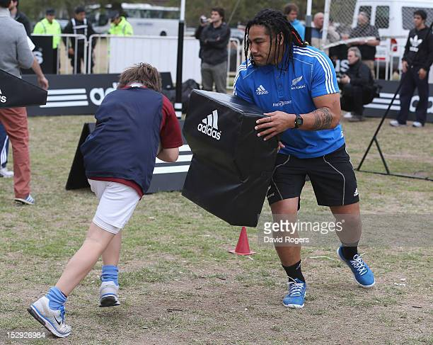 Ma'a Nonu holds a tackle bag during an All Black coaching session held on September 28 2012 in Buenos Aires Argentina