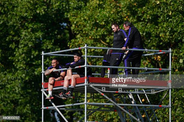 Maa Nonu, Liam Messam, Alistair Rogers and Ian Foste of the All Blacks watch from a tower during a New Zealand All Blacks Captain's Run at Sophia...