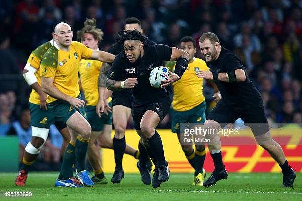 Ma'a Nonu of New Zealand breaks to score his team's second try during the 2015 Rugby World Cup Final match between New Zealand and Australia at...