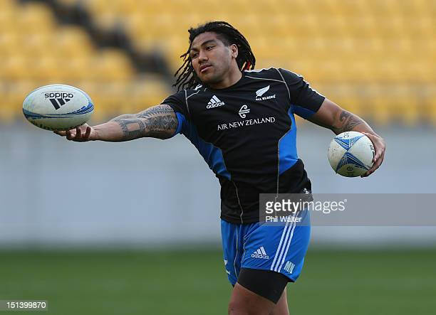 Ma'a Nonu of the All Blacks catches the ball during a New Zealand All Blacks captains run at Westpac Stadium on September 7 2012 in Wellington New...