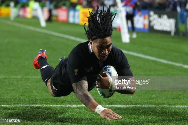 Ma'a Nonu of the All Blacks goes over to score a try during the IRB 2011 Rugby World Cup Pool A match between New Zealand and Japan at Waikato...