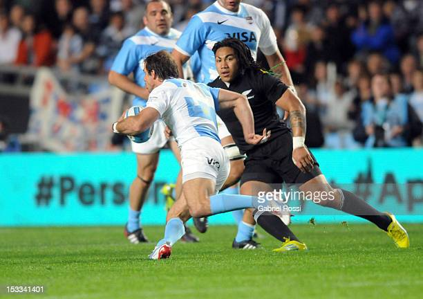 Ma'a Nonu of the All Blacks in action during the Rugby Championship match between Argentina and the New Zealand All Blacks at Estadio Ciudad de La...