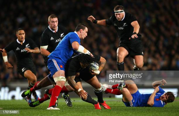 Ma'a Nonu of the All Blacks is tackled by Louis Picamoles of France during the first test match between the New Zealand All Blacks and France at Eden...