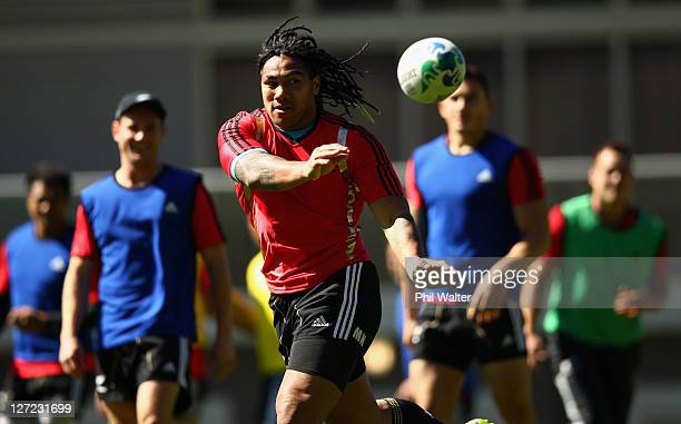 Ma'a Nonu of the All Blacks passes during a New Zealand All Blacks IRB Rugby World Cup 2011 training session at Rugby League Park on September 27,...