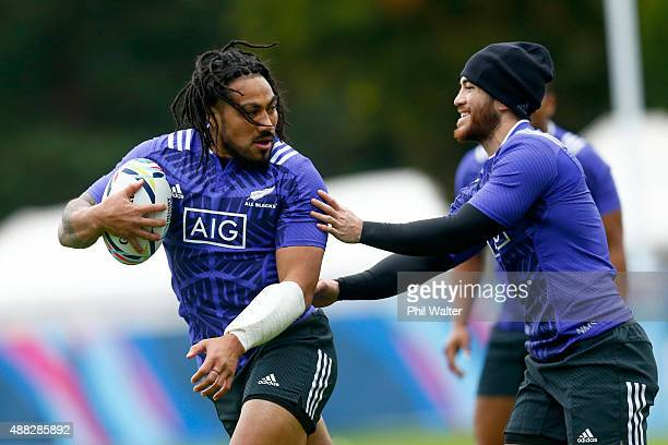 Maa Nonu of the All Blacks runs the ball during a New Zealand All Blacks training session at Lensbury on September 15, 2015 in London, United Kingdom.