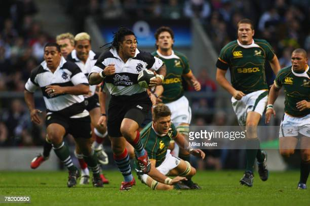 Maa Nonu of the Barbarians makes a break during the Gartmore Challenge match between the Barbarians and South Africa at Twickenham on December 1 2007...