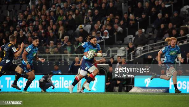 Ma'a Nonu of the Blues busts the Highlanders defence during the round 10 Super Rugby match between the Highlanders and the Blues at Forsyth Barr...