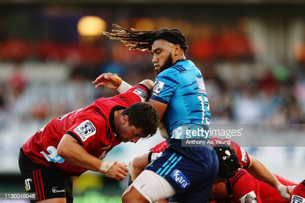 Ma'a Nonu of the Blues clashes with Quinten Strange of the Crusaders during the round 1 Super Rugby match between the Blues and the Crusaders at Eden...