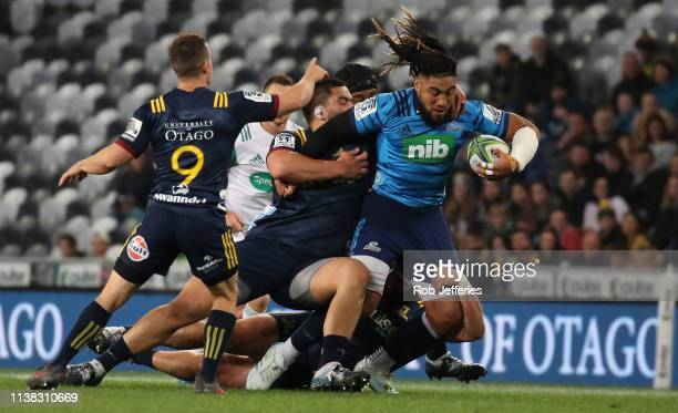 Ma'a Nonu of the Blues during the round 10 Super Rugby match between the Highlanders and the Blues at Forsyth Barr Stadium on April 20 2019 in...