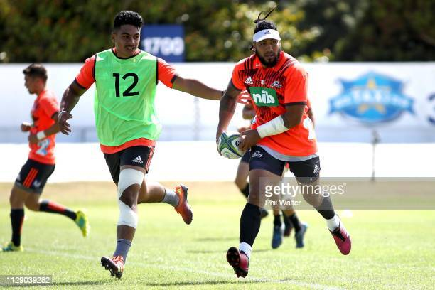 Ma'a Nonu of the Blues during training prior to the Blues Media Session at Alexandra Park on February 12 2019 in Auckland New Zealand