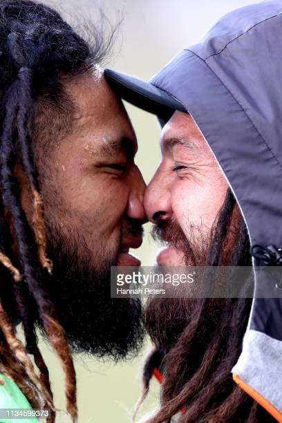 Ma'a Nonu of the Blues greets Rene Ranger of the Sunwolves with a hongi ahead of the round 4 Super Rugby match between the Blues and the Sunwolves at...