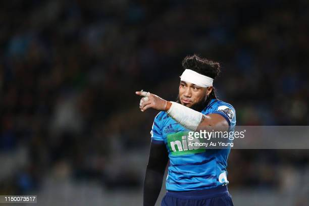 Ma'a Nonu of the Blues looks on during the round 14 Super Rugby match between the Blues and the Chiefs at Eden Park on May 18 2019 in Auckland New...