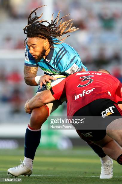 Ma'a Nonu of the Blues makes a break during the Super Rugby match between the Blues and the Crusaders at Eden Park on February 16 2019 in Auckland...