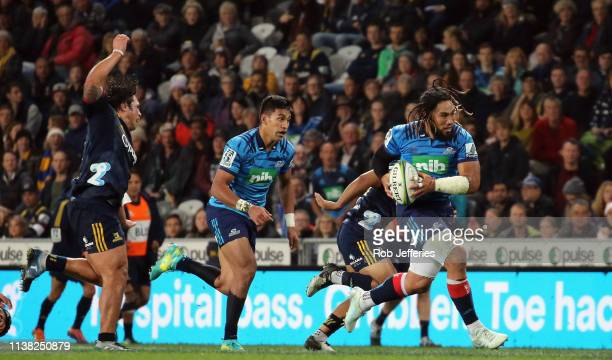 Ma'a Nonu of the Blues on the charge during the round 10 Super Rugby match between the Highlanders and the Blues at Forsyth Barr Stadium on April 20...