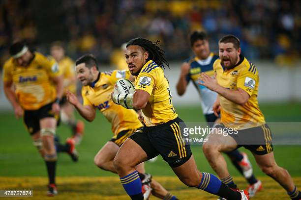 Maa Nonu of the Hurricanes makes a break during the Super Rugby Semi Final match between the Hurricanes and the Brumbies at Westpac Stadium on June...