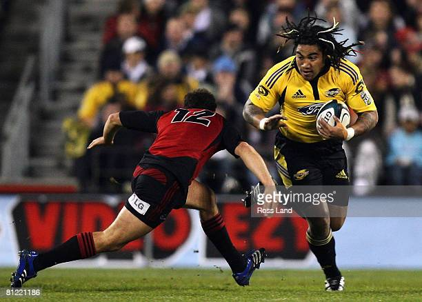 Ma'a Nonu of the Hurricanes runs at the Crusaders defence during the Super 14 semifinal match between the Crusaders and the Hurricanes at AMI Stadium...