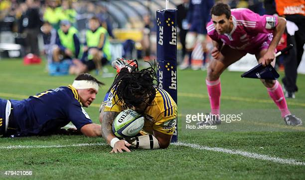 Maa Nonu of the Hurricanes scores a try during the Super Rugby Final match between the Hurricanes and the Highlanders at Westpac Stadium on July 4...