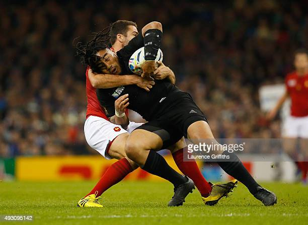 Ma'a Nonu of the New Zealand All Blacks is tackled during the 2015 Rugby World Cup Quarter Final match between New Zealand and France at the...