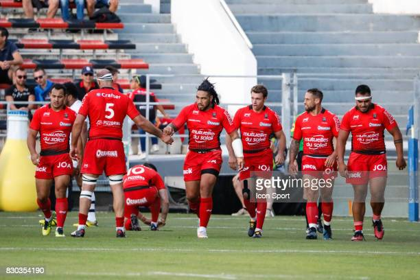 Ma'a Nonu of Toulon during the preseason match between Rc Toulon and Clermont Auvergne at Felix Mayol Stadium on August 11 2017 in Toulon France