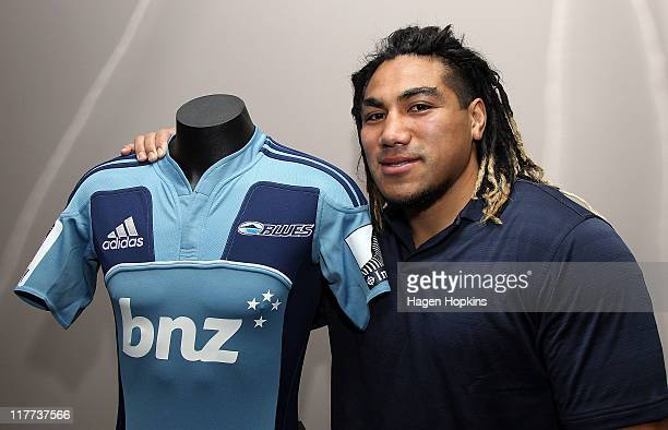 Ma'a Nonu poses with a Blues jersey at the New Zealand Rugby Union offices on July 1, 2011 in Wellington, New Zealand. Nonu has signed with New...