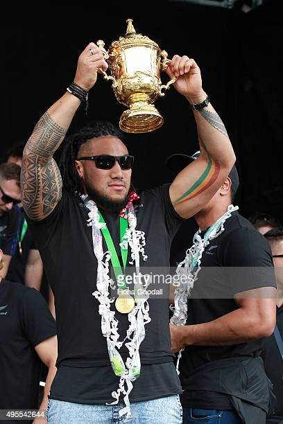 Ma'a Nonu with the RWC trophy during the New Zealand All Blacks welcome home celebrations at Victoria Park on November 4 2015 in Auckland New Zealand