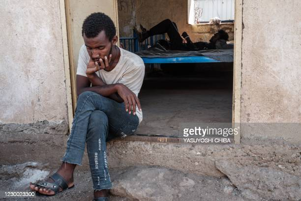 Maabel Abraham, an Eritrean refugee who fled Ethiopia's Tigray conflict, poses after an interview with AFP at the Border Reception Centre in...