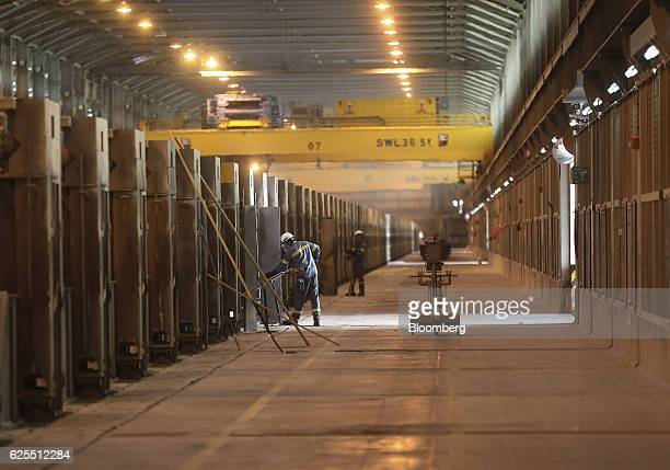 Ma'aden workers inside the smelting section of the aluminium processing plant at the Ras Al Khair Industrial City operated by the Saudi Arabian...