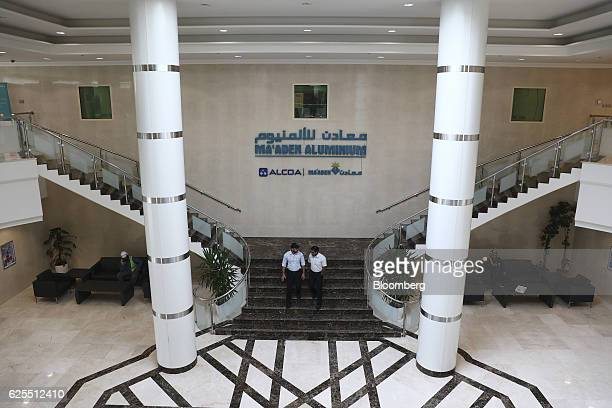 Ma'aden workers walk through the interior offices for the aluminium facility at the Ras Al Khair Industrial City operated by the Saudi Arabian Mining...