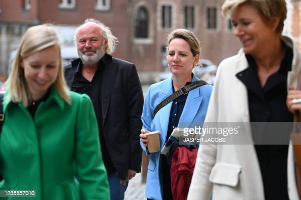 Maaike Cafmeyer and her partner, lawyer An-Sofie Raes and lawyer Christine Mussche pictured before the afternoon session at the Criminal Court in...